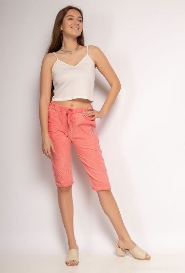 Highly stretchy cotton crumpled shorts - For Her Paris