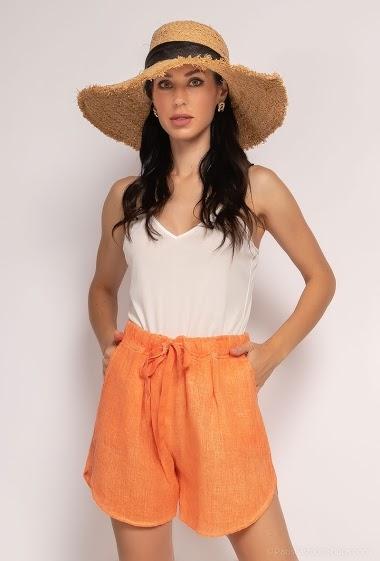Plain short in 100% linen - For Her Paris