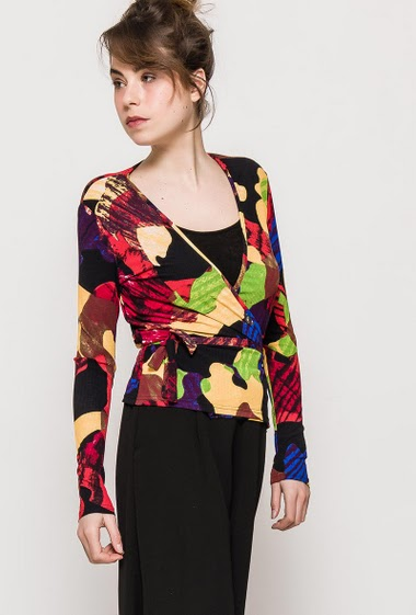 Top Wrap-around printed top ELODY - For Her Paris