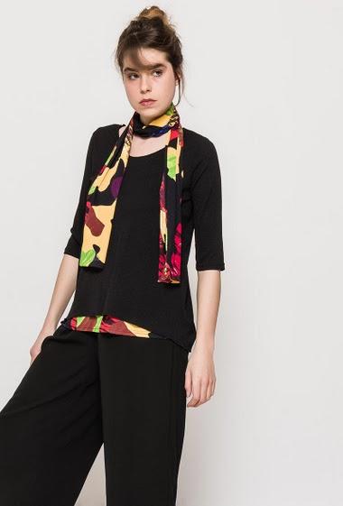 T-shirt ELONA avec foulard imprimé - For Her Paris