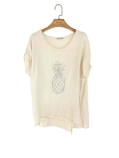 top ananas brodé en coton et lin - For Her Paris