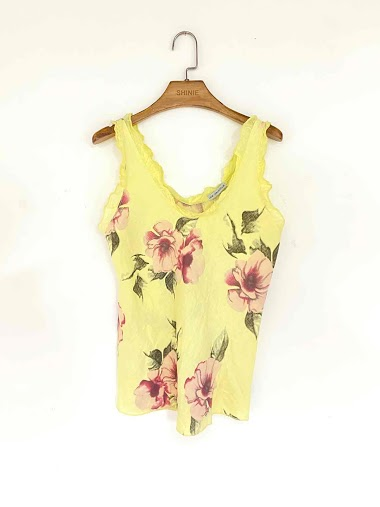 flower top in cotton and linen - For Her Paris
