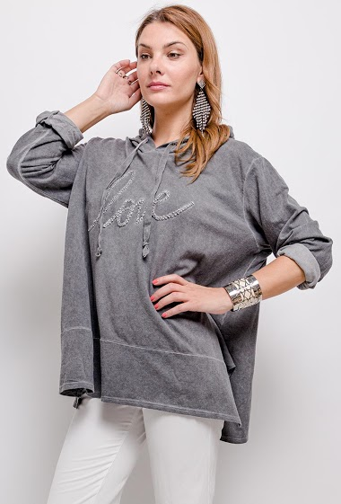 Oversized hooded top with embossed Love writing - For Her Paris