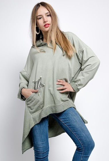 oversized top with hood and star embroidered and beaded - For Her Paris