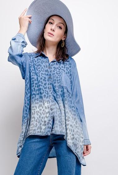 top oversize en jeans imprimé léopard - For Her Paris