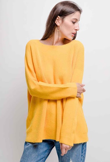round-neck oversized knit top - For Her Paris