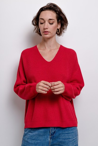V-neck oversized knit top - For Her Paris