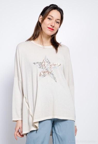 Top oversized star embroidered sequins - For Her Paris