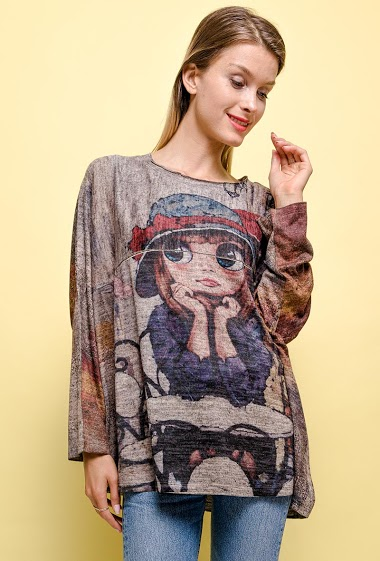 printed oversize top - For Her Paris