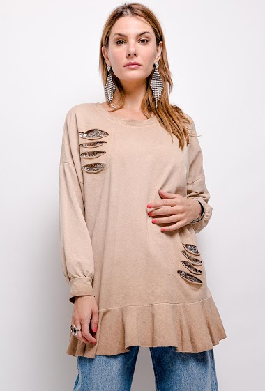 oversize plain top with sequins - For Her Paris