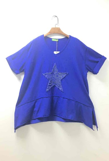 Plain oversized top with a star - For Her Paris