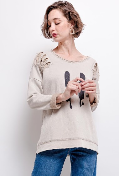 oversize plain top with sequins on the shoulders - For Her Paris