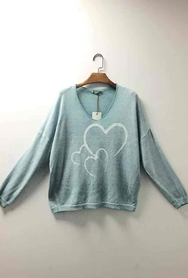 printed oversized top V neck with 3 hearts - For Her Paris