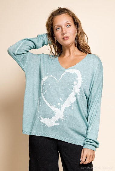 printed oversized top V neck with a heart - For Her Paris