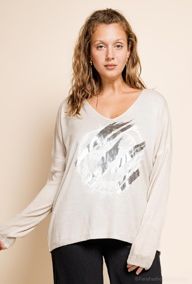printed oversized top V neck with a star - For Her Paris