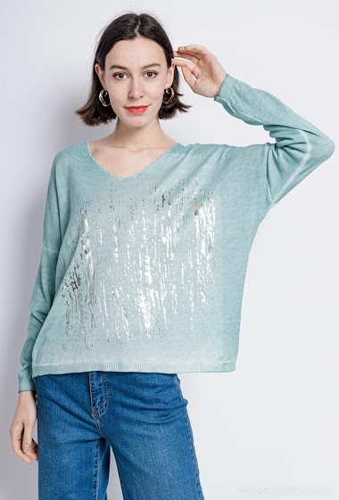 printed oversized top V neck - For Her Paris