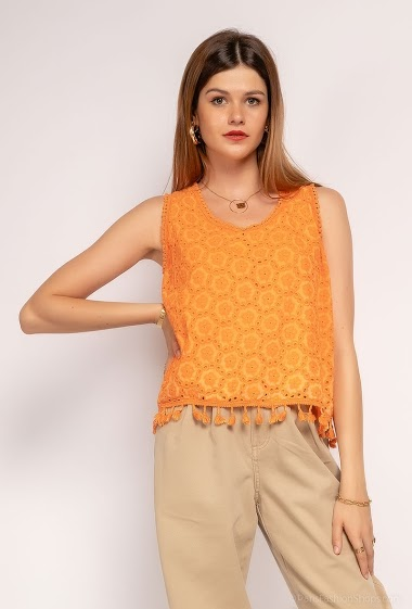 Top oversize uni en broderie anglaise - For Her Paris