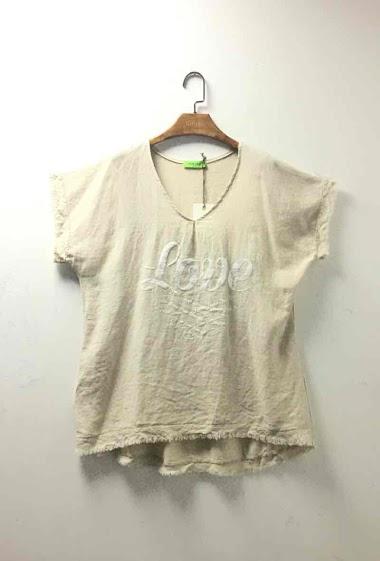 Top oversize uni en coton et lin - For Her Paris