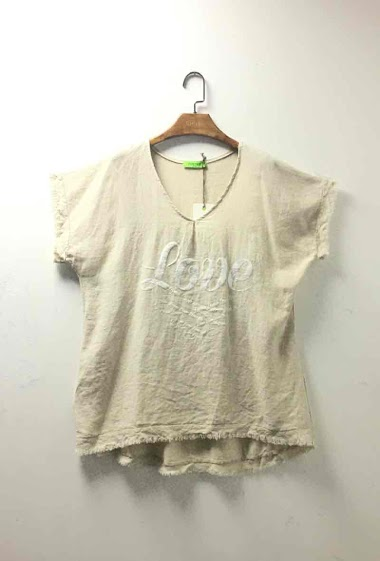 Plain oversized cotton top and linen - For Her Paris