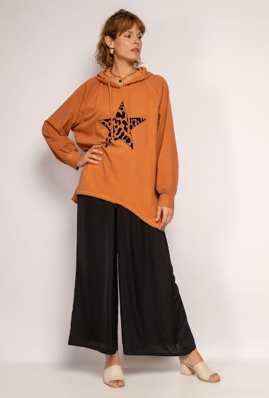Oversized hoodie top with star - For Her Paris