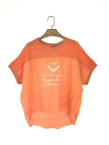 Oversize plain top with a text in cotton and linen - For Her Paris