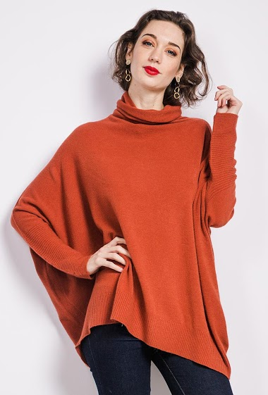 Oversized turtle neck knit tunic - For Her Paris