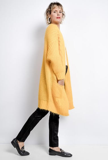 Oversized V-neck knit cardigan - For Her Paris