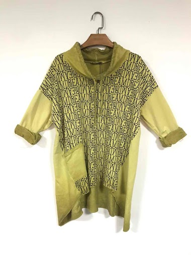 oversized tunic with writing print - For Her Paris