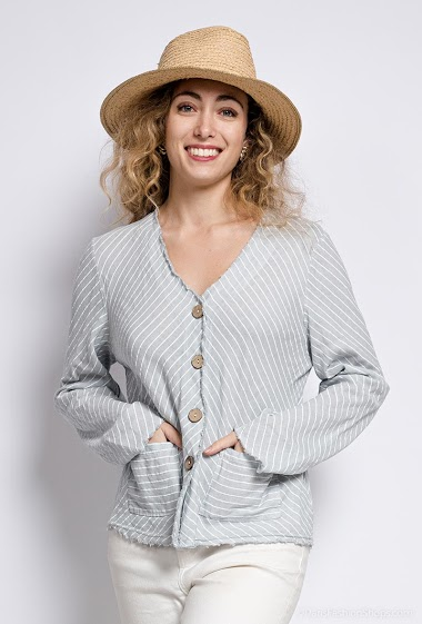 Linen and cotton striped jacket - For Her Paris