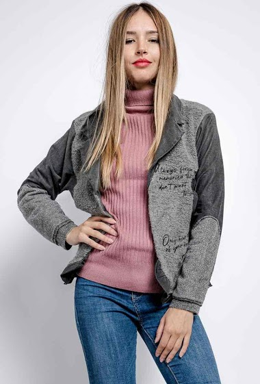 bi-material jacket with writing - For Her Paris