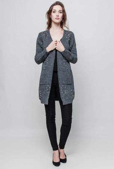 Ribbed cardigan, open front, rips, fancy pearls, pockets, regular fit. The model measures 177 cm and wears S/M