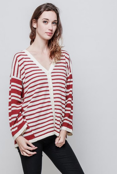 Cardigan with bicolour stripes, V neck, casual fit. The model measures 177 cm, one size corresponds to 38/40