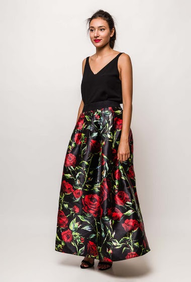 Maxi evening skirt with flowers