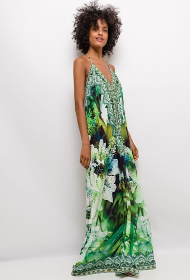 Maxi dress with open back