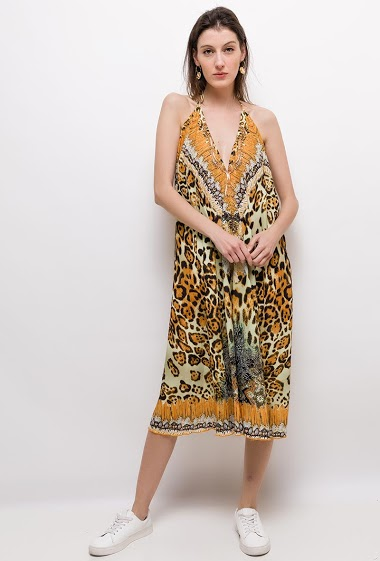 FRIME leopard midi kjole FASHION CENTER