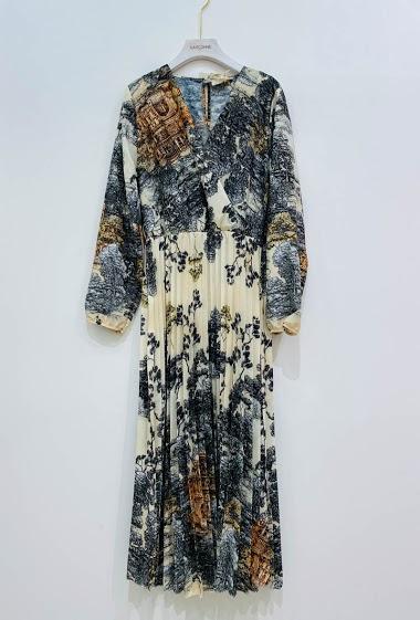 LONG V-NECK PRINT DRESS