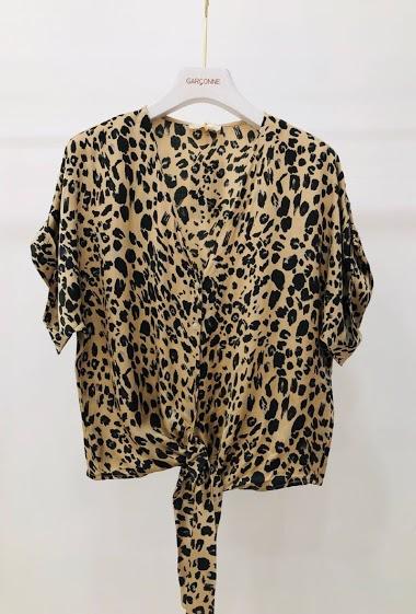 Top chemise léopard a nœud