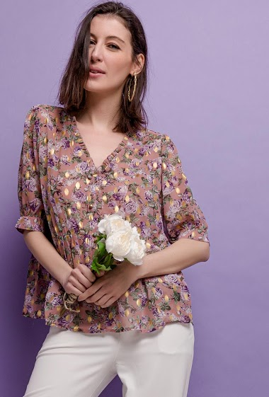 Blouse with printed flowers, gold pattern, puff sleeves. The model measures 178cm, one size corresponds to 10/12(UK) 38/40(FR). Length:60cm