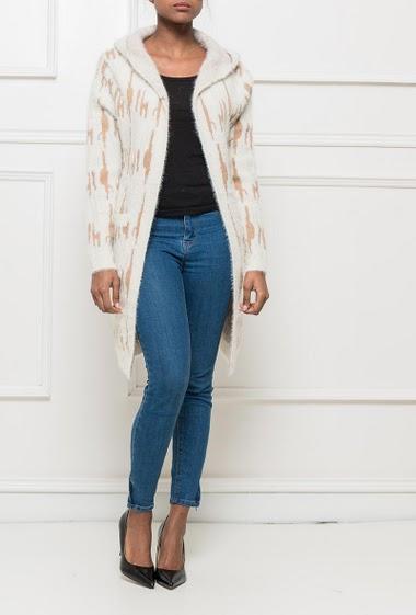 Gilet long à maille duveteuse, avec motifs et poches