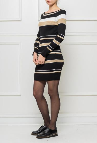 Dress in ribbed knit with colorful stripes and decorated with lurex, boat neck, adjusted fit