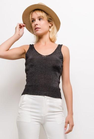 Shiny knit tank top