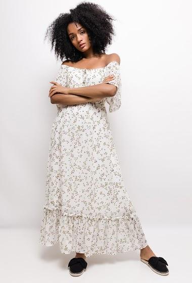 Off shoulder dress. The model measures 177cm and wears S. Length:130cm