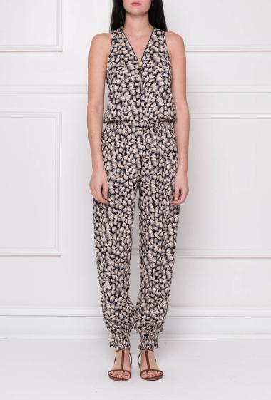 Sleeveless jumpsuit in printed cotton, elastic waist, zipped V neck and smocked ankles