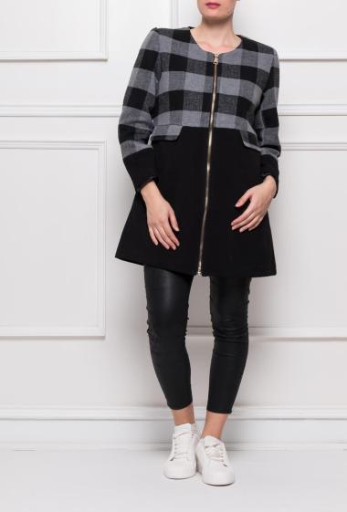 Manteau sans col à carreaux, poches, fermeture zippée