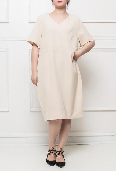 Robe classique à manches courtes, dos zippé, tissu stretch