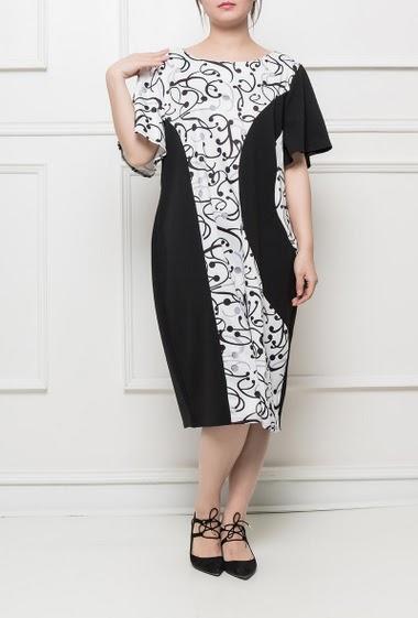 Robe à motifs bicolores, coupe décontractée, tissu stretch