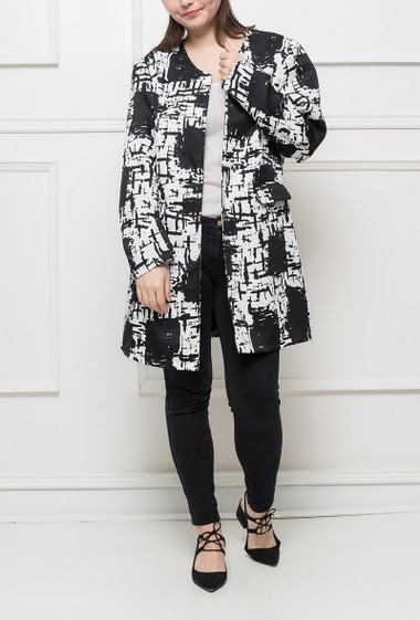 Bicolour jacket with pattern, pockets, hook-and-eye closure, flared fit