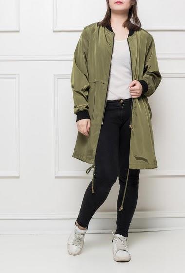 Veste imperméable avec fermeture zippée, poches, cordon de serrage, coupe décontractée, idéale pour la mi-saison