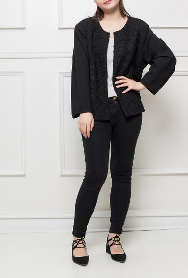 Textured jacket with lace, regular fit, stretch fabric, padded shoulders, hook-and-eye closure