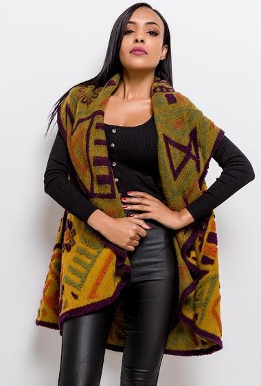 Sleeveless cardigan in wool